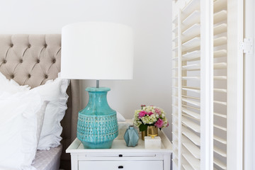 Bedside table details in a luxury Hamptons styled bedroom