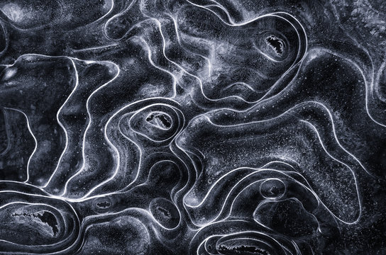 Aerial view of patterns on frozen water