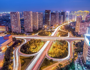 Night view of Aokema overpass in Qingdao City,Shandong Province,China