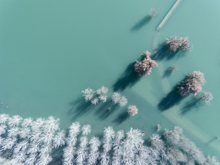 frozen lake from sky