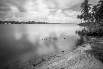 Black and white landscape on long exposure