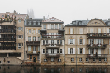 Houses on the bank of the Moselle river, Metz, France.