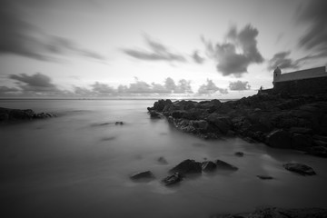 Black and white long exposure on Barra beach in Salvador Bahia