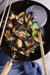 Steamed mussels with chilli,coriander,garlic and onions.
