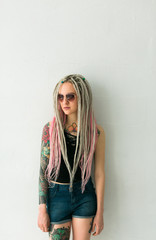 dreadlocked young woman