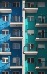 Building facade /blue/cyan