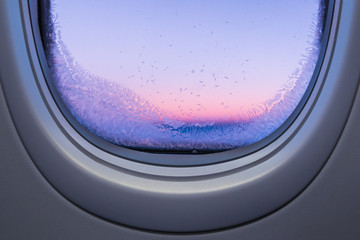 View through frozen airplane window