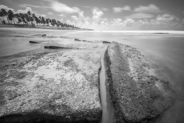 Long exposure landscape black and white on the beach with rocks