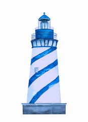 watercolor blue lighthouse on white background