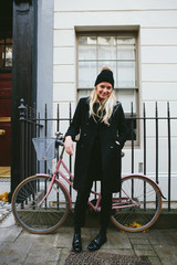 Beautiful blonde woman in winter coat