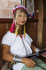 Lifestyle images of an authentic Long Neck Tribal women, from Burma