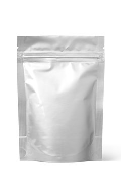 Silver foil zipper bag packaging, Isolated on white.