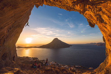 Man climbing steep overhanging wall in Kalymnos