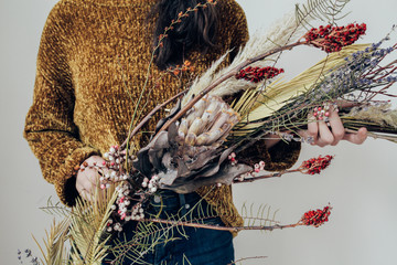 Woman holding Dried Florals