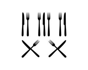 Fork and Knife Cross Illustration Vector Logo Silhouette