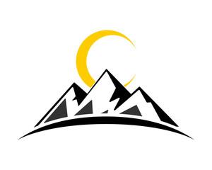 moon mountain hill tip summit peak alps image icon vector