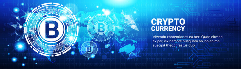 Crypto Currency Concept Bitcoin Sign On Blue World Map Modern Web Money Technology Horizontal Banner Vector Illustration