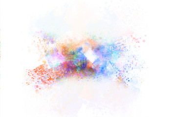 Abstract Colorful painting texture background and colorful splash brush to art.