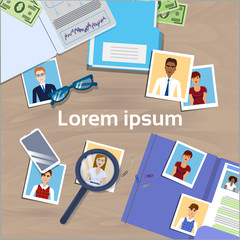 Office Desk With Cv Photos From Resume Hr Manager Workspace Top Angle View Workplace Concept Banner With Copy Space Flat Vector Illustration