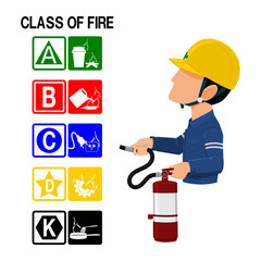Set of Fire class icon and the industrial worker on transparent background