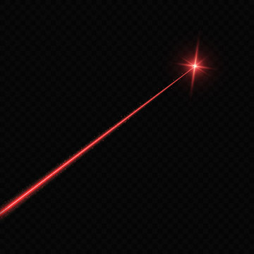 Laser beam. Light flash with sparkling ray on transparent background
