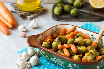 Caramelized brussels cabbage and carrots with herbs and garlic