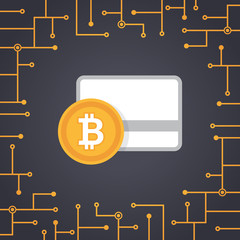 Bitcoin payment in flat design vector with circuit board background. Bitcoin icons of payment, withdrawal, cash and transfer. Cryptocurrency technology