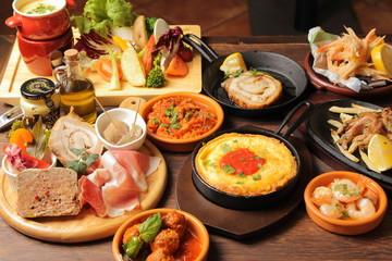 Fotorolgordijn Buffet, Bar イタリアンコース料理