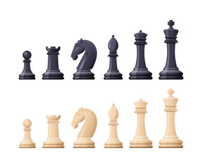 Black, white chess game pieces, figures. Logical tactical turn-based game.