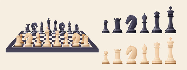 Black and white chess game pieces, figures on chess board.