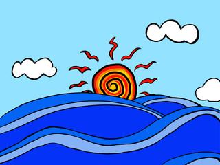 바다, 파도, 태양, 구름, 일출,