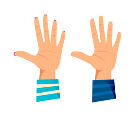 Men's and women's hands with gestures. Giving high five, success.