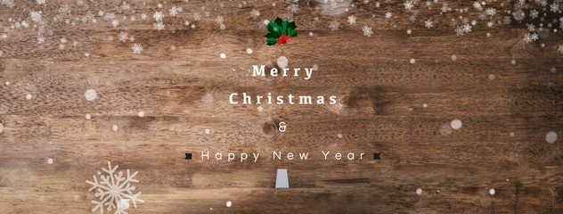 Merry Christmas and Happy New Year text on wood banner background