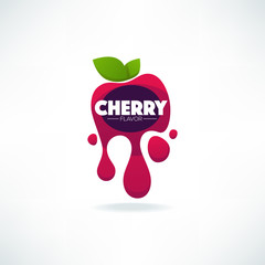 bright  sticker, emblem and logo for cherry flavor fresh juice
