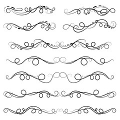 vector illustration set of border calligraphic and dividers decorative design elements
