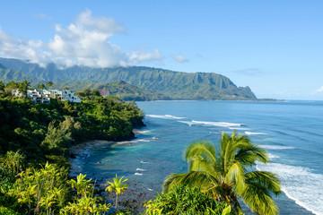 Hanalei Bay - Overlook of Hanalei Bay at the north shore of Kauai, Hawaii, USA. Wall mural