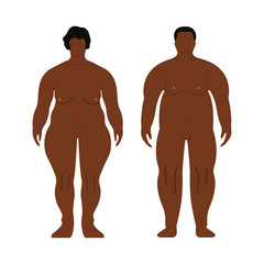 Fat African Men and Women. Cartoon, Outline style. Human front side Silhouette. Isolated on White Background. Vector illustration