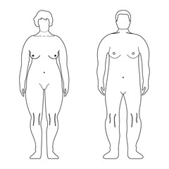 Fat European Women and Man. Outline style. Human front side Silhouette. Isolated on White Background. Vector illustration