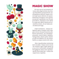 Magic show advertisement banner with equipment for tricks