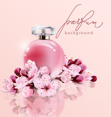 Sakura perfume ads, realistic style perfume in a glass bottle on pink background with sakura flowers. Great advertising poster for promoting a new fragrance Vector template