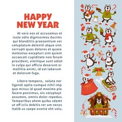 Happy New Year 2018 poster with Husky dog in festive warm clothes, in wooden house with Christmas decorations and winter