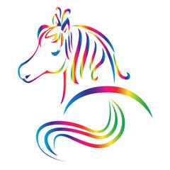 Beautiful horse rainbow color logo vector