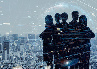 Group of experts. Silhouette of five business persons.