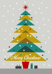 Merry Christmas. Colorful retro tree with gifts