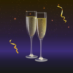 Glasses of champagne and streamer with rays of light on background. Champagne with bubbles in a wineglass, 3D illustration