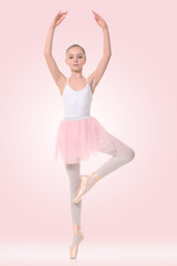little ballerina on a pink background