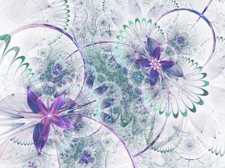 Light fractal floral pattern, digital artwork for creative graphic design