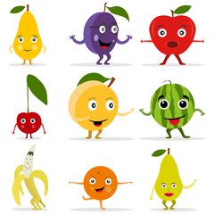 Funny fruit face and cartoon fruit characters. Cartoon funny fruits characters and fruits face.