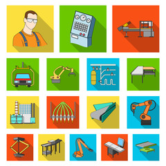 Equipment and machine flat icons in set collection for design.Technical progress of the factory vector symbol stock web illustration.