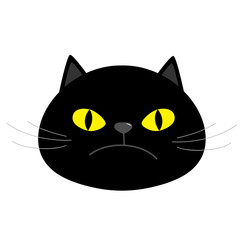 Black kitten cat head face with yellow eyes, moustaches, nose, ears. Cute cartoon funny character. Kawaii animal. Paw, tail. Love animals. Flat design. White background. Isolated.